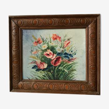 Tableau ancien fleurs bouquet
