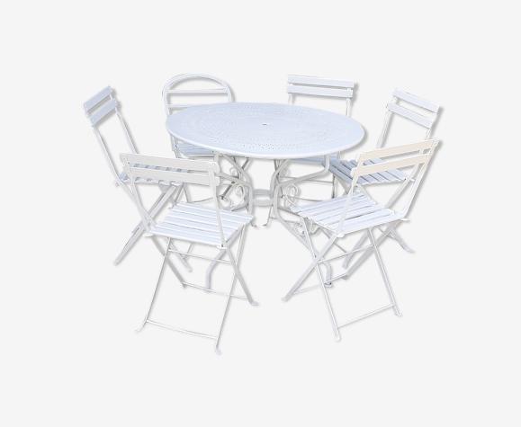 Salon de jardin 1 table 6 chaises bois et métal blanc ancien