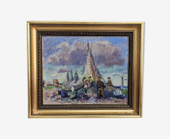 Peinture à l'huile encadrée vintage du milieu du siècle - Séchage des filets