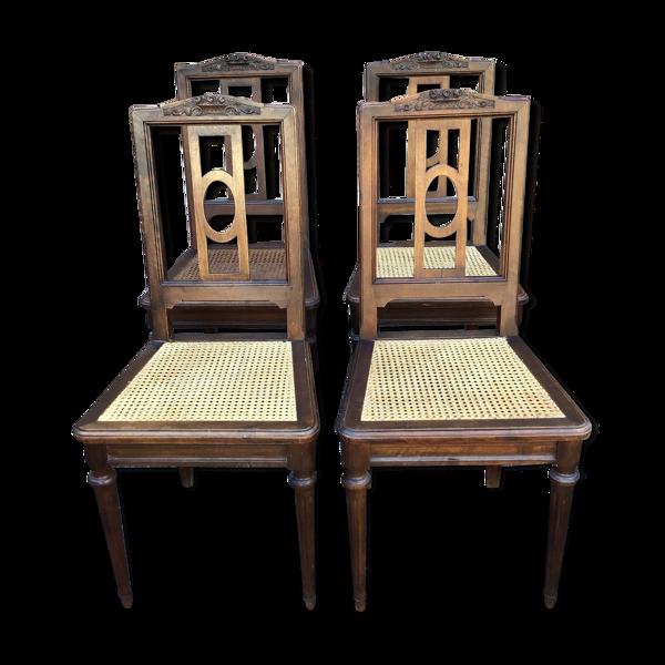Selency Set de 4 chaises françaises style Louis XVI vintage 30s Provence