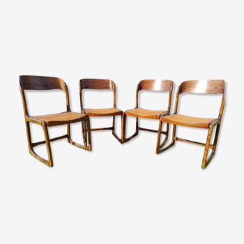 """Série 4 chaises Baumann """"traîneau"""" cannées"""