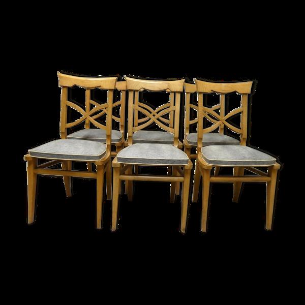 Lot de 6 chaises en chêne et vinyl des années 1950
