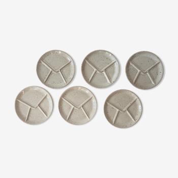 Set of 6 marsh sandstone fondue plates