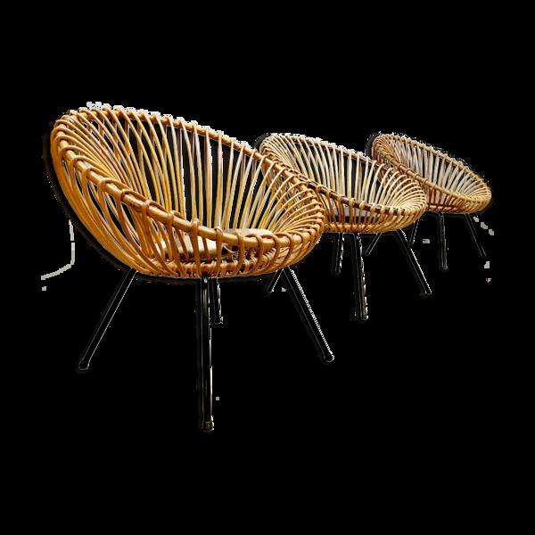 Lot de 3 fauteuils en rotin au design vintage
