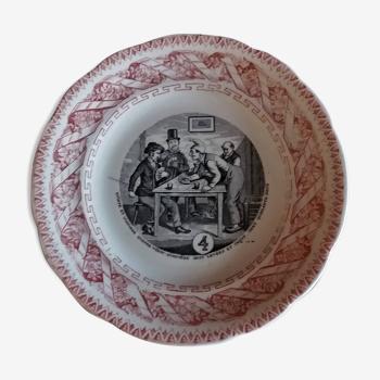 Assiette parlante à thème Gien N° 4 fin XIXème