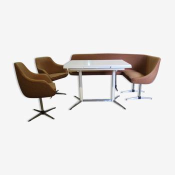 Ensemble de repas table fauteuils et banquette