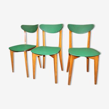 Lot de trois chaises vintage vertes