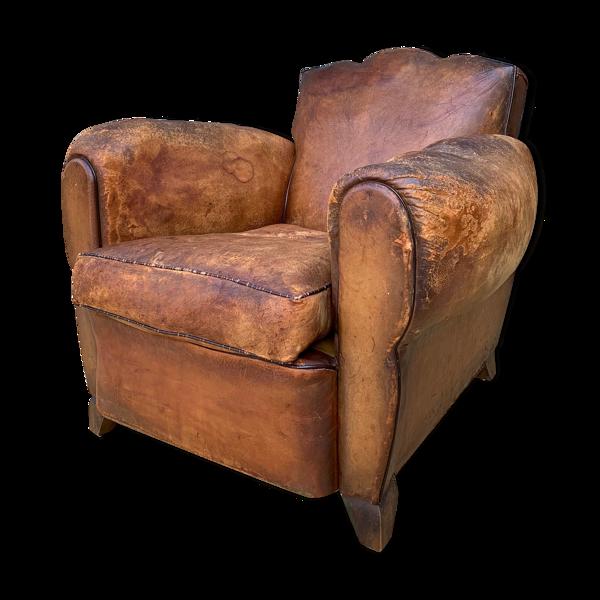 Fauteuil club en cuir 1930