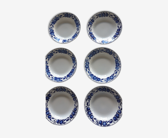 Assiettes anciennes bleues