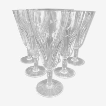 6 flûtes à champagne en cristal de baccarat, modèle cassino, années 60
