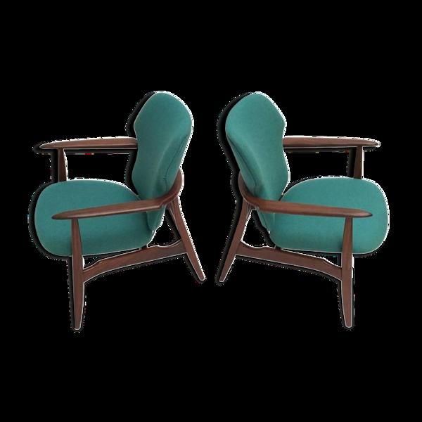 Paire de fauteuils en teck bio et laine de Ploeg par Aksel Bender Madsen pour Bovenkamp Danemark