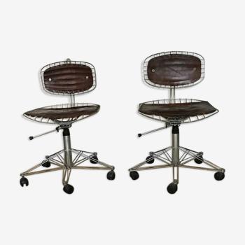 """Paire de chaises sur roulettes """"beaubourg""""  par Michel Cadestin 1970"""