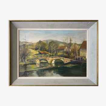 """Tableau HSP """"Le Pont Romain"""" Venarey-les-Laumes (21) signé R. Bobin"""