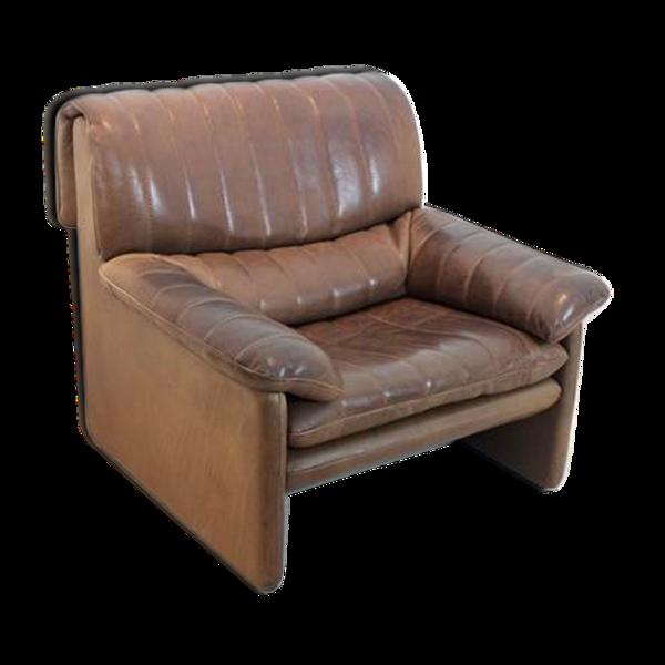 Fauteuil De Sede DS-86 en cuir brun doux et épais