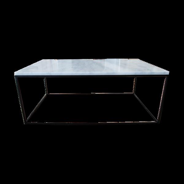 Table basse rectangulaire en marbre blanc de carrare