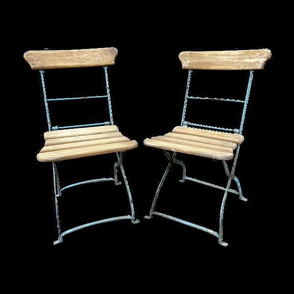 Set de 2 chaises pliantes jardin brasserie restaurant terasse bar bistrot alsace 1920