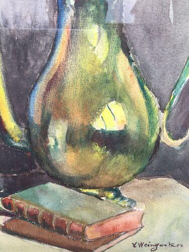 Tableau ancien nature morte aux vase, livre et théière  années 1950
