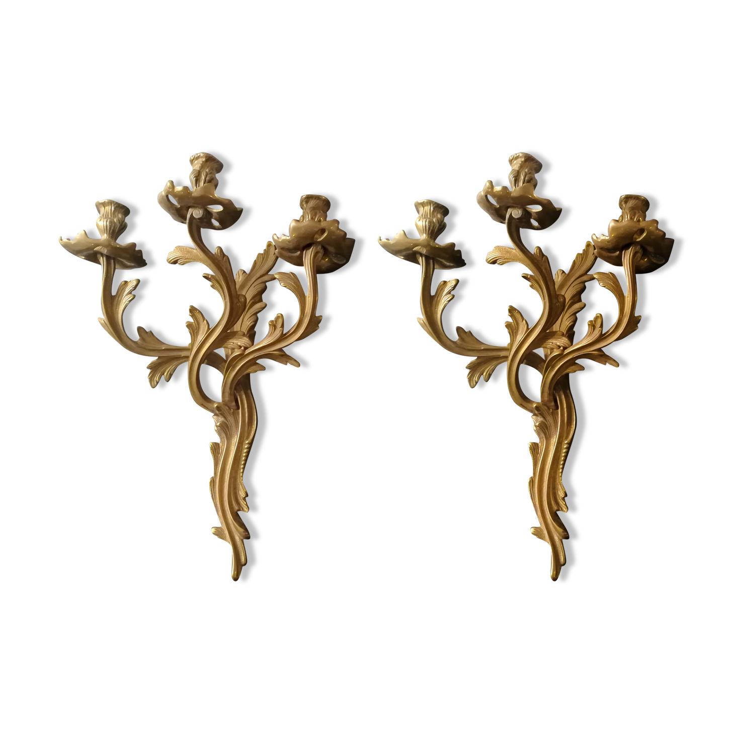 Paire d'appliques en bronze doré style Louis XV