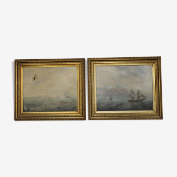 Paire de tableaux, huiles sur toiles signées et datées de 1892