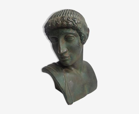 Buste d'Aurige en plâtre patiné, 22 cm