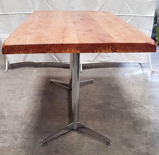 Ancienne table en chêne et inox vintage