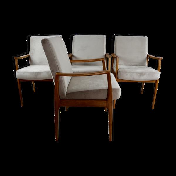 Selency Ensemble de 4 chaises vintage en velours beige années 1980