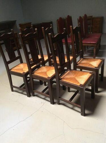 Lot de 6 chaises en paille