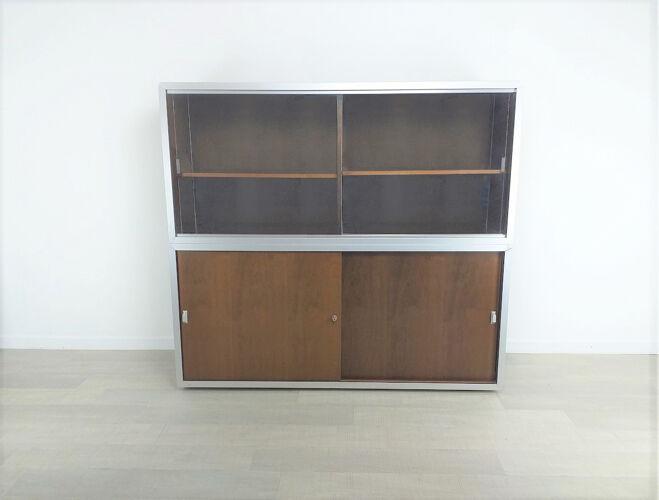 Double meuble de rangement de bureau design Ciolino années 70 vintage