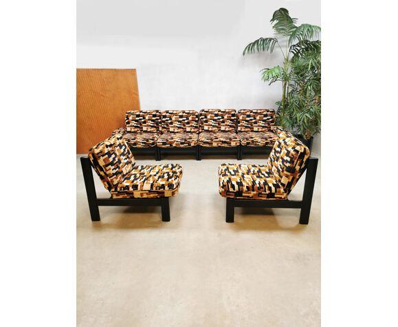 Ensemble canapé modulaire 'Blocs géométriques des années 70'