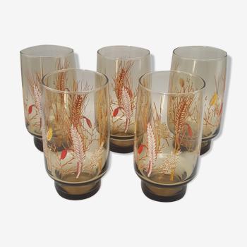 5 verres à eau Arcopal verre fumé épi de blé vintage