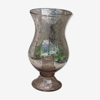 Photophore en verre rose la verrerie de biot signé verre bulle soufflé vintage