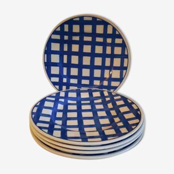 5 flat plates in English earthenware John Tams diam 22 cm