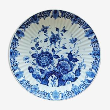 Plat Delft fleuri côtelé 35 cm de diamètre