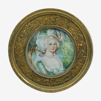 Miniature femme du XVIII eme par clo moret costume d epoque cadre laiton