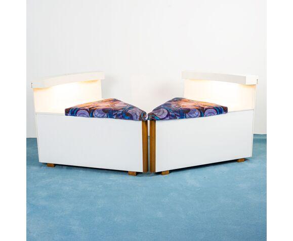 Ensemble de fauteuils modulaire 7 modules en velours design années 70