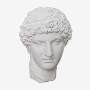 Tête grecque en plâtre blanc mat