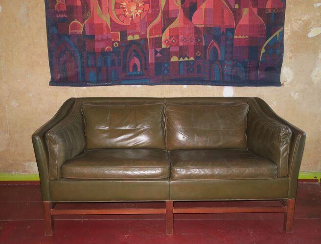 Leather teak frame 2-seater sofa by Grant in dark olive green Danish 1960s