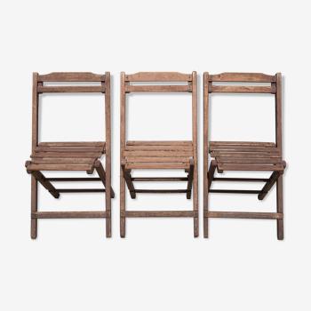 Lot 3 chaises pliantes bois