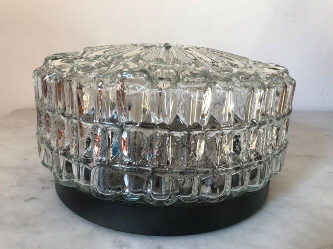Plafonnier vintage en verre moulé