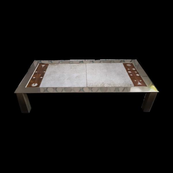 Table basse en céramique et chrome datant des années 70