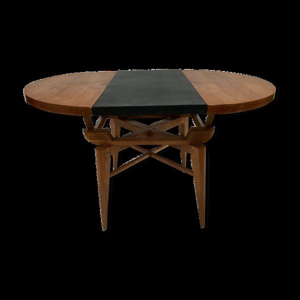 Table à système en chêne, France, Circa 1950