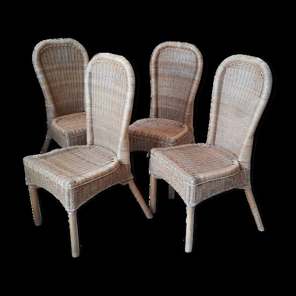 4 chaises rotin vintage 1970