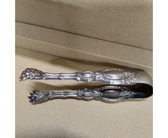 Pince à sucre baroque en métal argenté