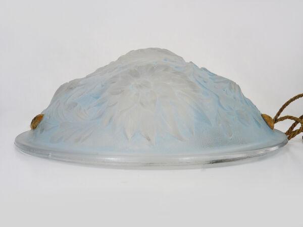 Suspension vasque bleu art déco 1 feu, en pâte de verre, année 30