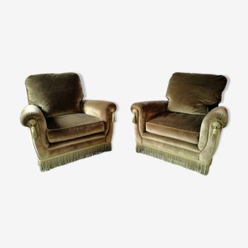 """Paire de fauteuils en velours """"Jean Roche """""""