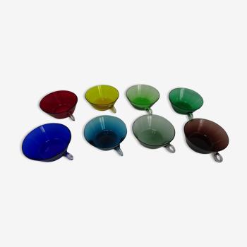 Lot 8 coupelles verre coloré vintage