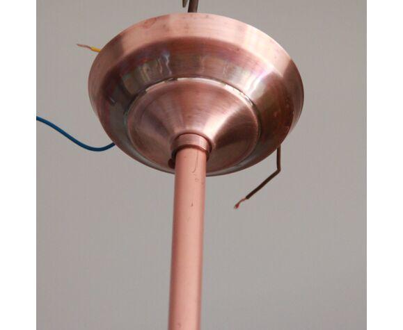 Suspension Holophane des années 40 avec son reflecteur prismatique industriel