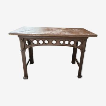 Table console industrielle  en fonte et marbre