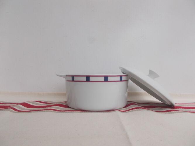 Cassolette basque bleu et rouge en porcelaine