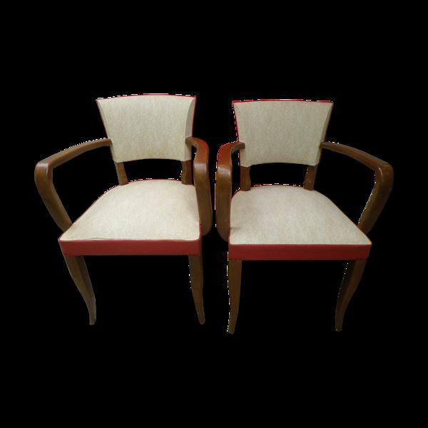 Lot de 2 fauteuils bridge 2 couleurs vintage 50's